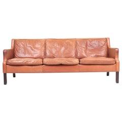 Midcentury Sofa in Patinated Leather, Danish Design, 1970s