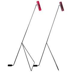 Midcentury Steel Frame Red Perspex Floor Lamps Attributed to Alf Svensson