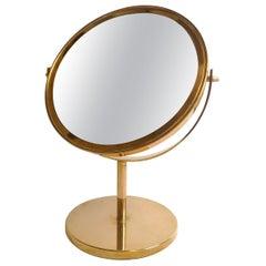 Midcentury Vanity Hans-Agne Jakobsson Brass Table Mirror, Sweden