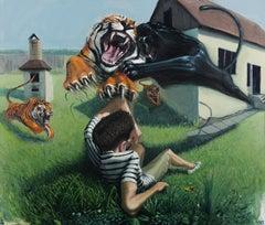The Dangerous Backyard - Contemporary, Tiger, Kid, Orange, Green, Black, Panther