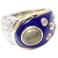Mikimoto Diamond Cats Eye Blue Enamel Platinum and White Gold Band Ring