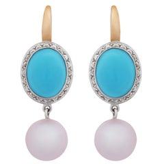 Mimi Milano Turquoise Pearl Diamond Gold Earrings