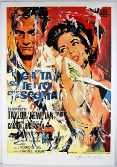 MIMMO ROTELLA Decollage Hand signed - Hollywood Italian Pop Art Street Art