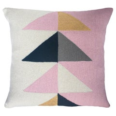 Minimalist Madison Triangle Hand Embroidered Modern Geometric Throw Pillow Cover