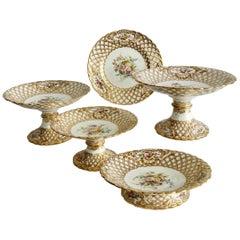 Minton Porcelain Dessert Service, White, Flowers J. Bancroft, Victorian, 1841