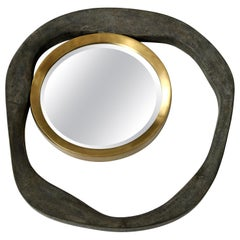 Mirror, Shagreen Antique Black and Brass, Organic Shape