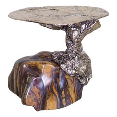 Misha Kahn, Side Table, Tiger's Eye, Jasper, Hematite, Stone, Bronze, 2020