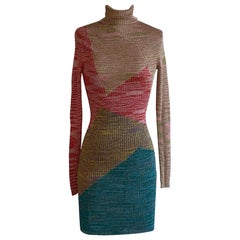 Missoni Metallic Pink Blue Gold Geometric Knit Dress Turtleneck Long Sleeves