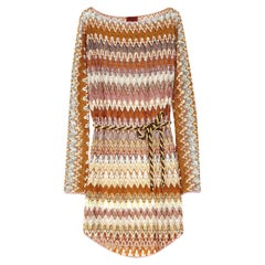 Missoni Signature Chevron Zigzag Crochet Knit Mini Dress with Belt