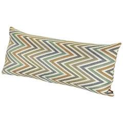 MissoniHome Nesterov Cushion in Multi-Color Green Chevron Print