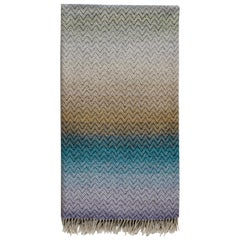 Missoni Home Pascal Throw in Multi-Color Blue and Beige Gradient Chevron Print