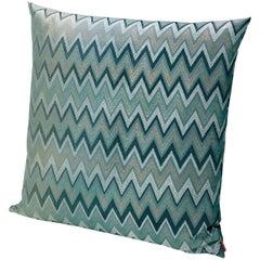 Missoni Home Taipei Cushion in Jacquard W/ Blue & Green Chevron Pattern
