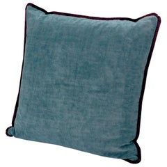 MissoniHome Tibet Cushion in Blue Velvet with Cranberry Border