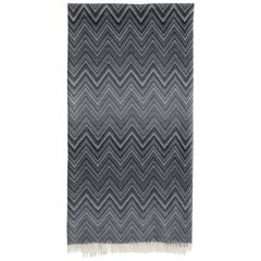 MissoniHome Timmy Throw in Black & White Chevron Print