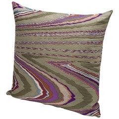 MissoniHome Vallauris Cushion in Jacquard with Multi-Color Macro Slub Print