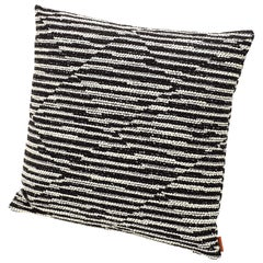 Missoni Home Varberg Cushion in Jacquard with White & Black Stripe Patchwork