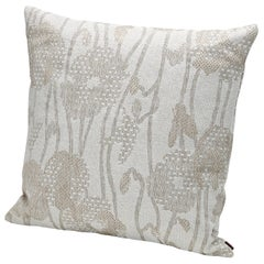 MissoniHome Wahai Indoor and Outdoor Cushion with Large Beige Flower Motif
