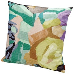 MissoniHome Wicklow Small Cushion with Floral Motif and Gold Lurex
