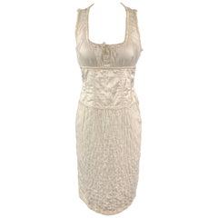 MIU MIU Size 6 White Cotton Quilted Mixed fabrics Sleeveless Dress