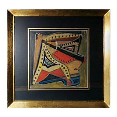 Mixed Technique Russian Constructivism Picture on Cardboard, 20th Century
