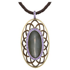 Modern Art Deco Moonstone and Sapphire Pendant