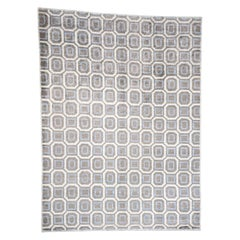 Modern Art Silk Geometric Design Hand Knotted Oriental Rug