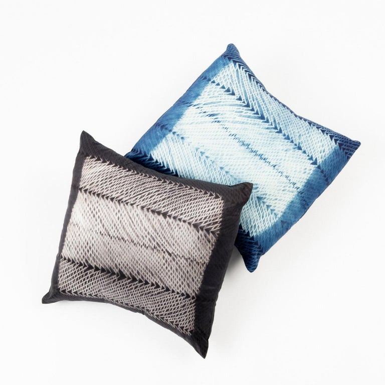 Dyed ARA Indigo Shibori Silk Pillow For Sale