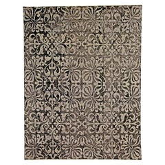 Modern Black and Silver Gray Passion Flowers Handwoven Wool Rug