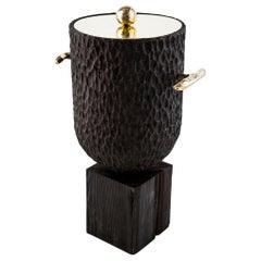 Modern Cast Brass, Chiseled Timber and Resin Dawa Ice Bucket