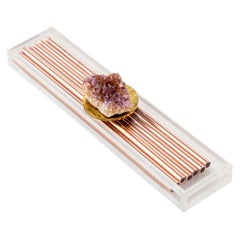 Modern Copper Straw Bar Set Presented in an Agate Decorated Lucite Box