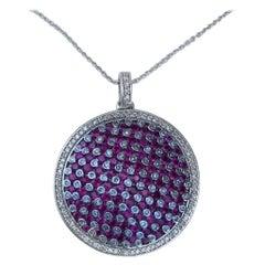Modern Design Effy 4.20 Carat Ruby and Diamond Checkerboard Pendant on Chain