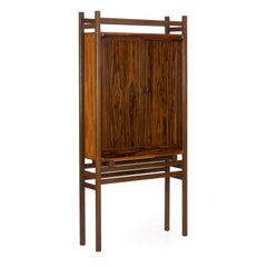 Modern Freestanding Dovetailed Mahogany and Ebony Bookcase Cabinet by John Hein