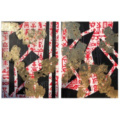 Modern Geometrical Abstract Gold Leaf Gilt Diptych by MAK, 2019