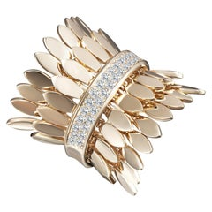 Modern Gold Kinetic Double Petal Gold Diamond Cocktail Ring