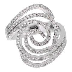 Modern Ladies White Gold Diamond Cocktail Ring