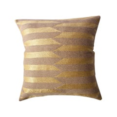 Modern Scarpa Circus Mauve Hand Embroidered Striped Wool Throw Pillow Cover