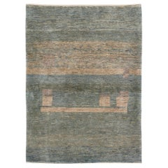 Modern Shiraz Handknotted Abstract Rug in Shades of Blue