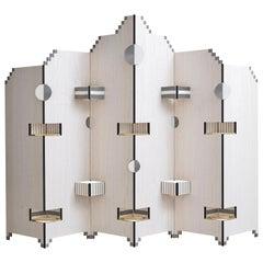 Modern Style Handmade Paperwall Screen in Tanganika Wood Veneer and Brass Detail