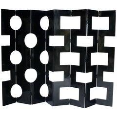 Modernist Black Lacquered Wood Room Divider