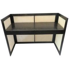 Modernist Desk in Ebony Oak with Cane Panels by Martin and Brockett