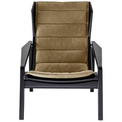 Molteni&C D.156.3 Armchair in Glossy Black Lacquered Wood and Canvas, Gio Ponti