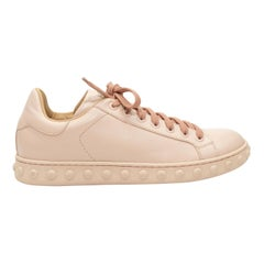 Moncler Light Pink Studded Leather Sneakers