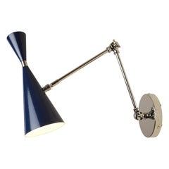 'Monolith' Italian Reading Lamp Nickel and Dark Blue Enamel Blueprint Lighting