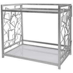Monterey Bar Cart in Silver Leaf & Smoked Glass by Badgley Mischka Home