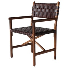Montgomery Solid Wood, and Woven Leather Arm, Dinning or Accent Chair