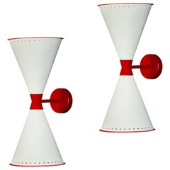 Monumental 'Diablo' Perforated Double-Cone Sconces in White and Red
