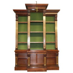 Monumental Solid Carved Tall Walnut Victorian Bookcase Bookshelf, circa 1870s