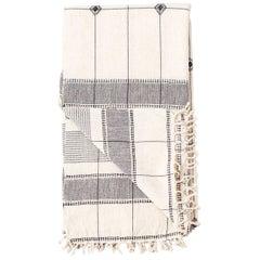 MOOL Handloom Throw  / Blanket , Black & White,  In Organic Cotton