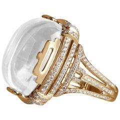 Moon Quartz Cushion Cabochon Ring with Diamonds