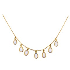 Moonstone Teardrop Necklace Bezel Set in 18k Gold, Original Necklace Adjustable